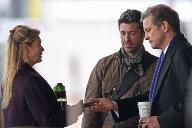 Renee-Zellweger-Patrick-Dempsey-and-Colin-Firth-shooting-scenes-with-a-motorbike-for-the-new-Bridget-Jones-movie